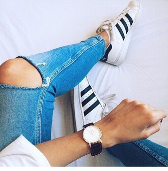 pants jeans blue ripped jeans blue jeans ripped blue jeans skinny jeans skinny super slim hipster grunge fall outfits cute grunge jeans adidas superstars shoes watch gold watch