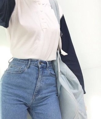 shirt blue white baseball sweater cute cute outfits cute top jeans high waisted top