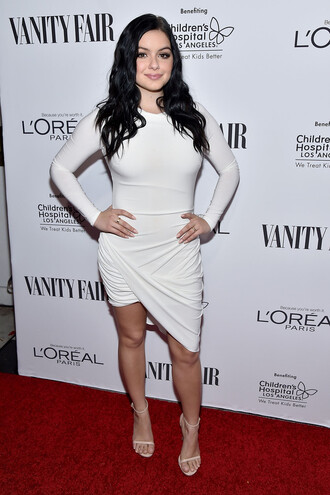 dress white dress asymmetrical dress ariel winter long sleeve dress draped dress