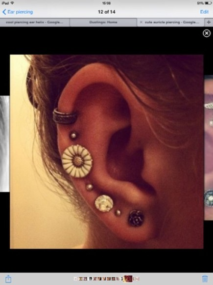 jewels earings ear cuff flower earings helix piercing rim want them ear piercings lovely