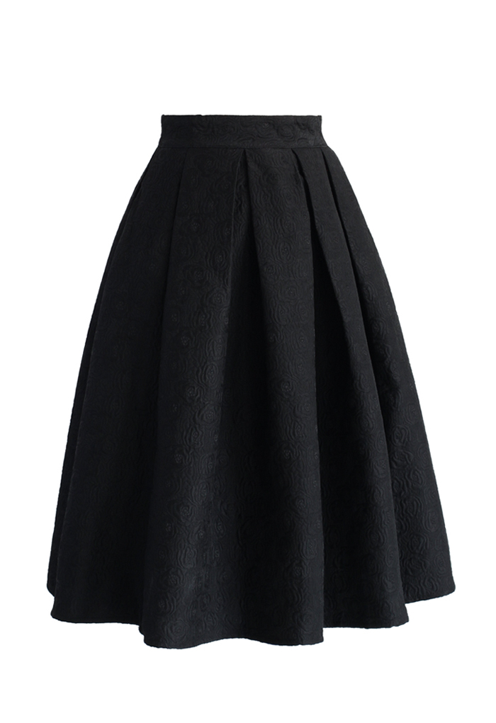Jacquard rose pleated midi skirt in black