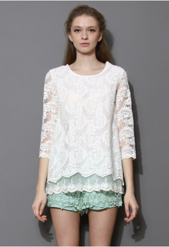 Baroque Embroidered Organza Tiered White Top - Retro, Indie and Unique Fashion