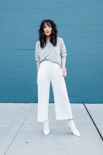 pants tumblr white pants cropped pants culottes white culottes boots white boots ankle boots sweater grey sweater knit