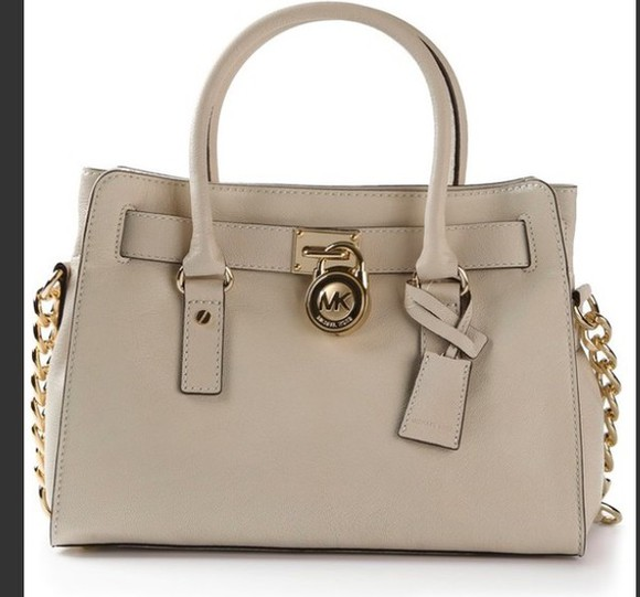 chain bag michael kors beige handbag