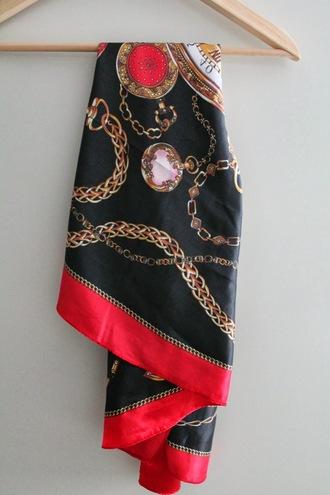scarf red scarf black scarf gold