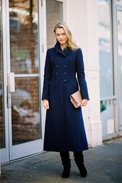 vanessa jackman,blogger,bag,long coat,navy,clutch,blue long coat