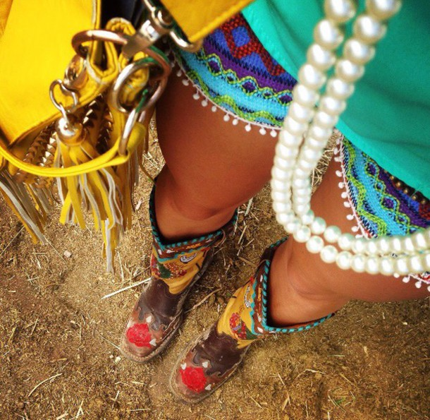 shorts colorful gypsy boots shoes