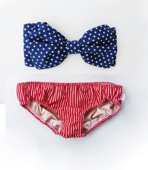 swimwear american flag blue bikini american red white stars stripes merica bow stars and stripes