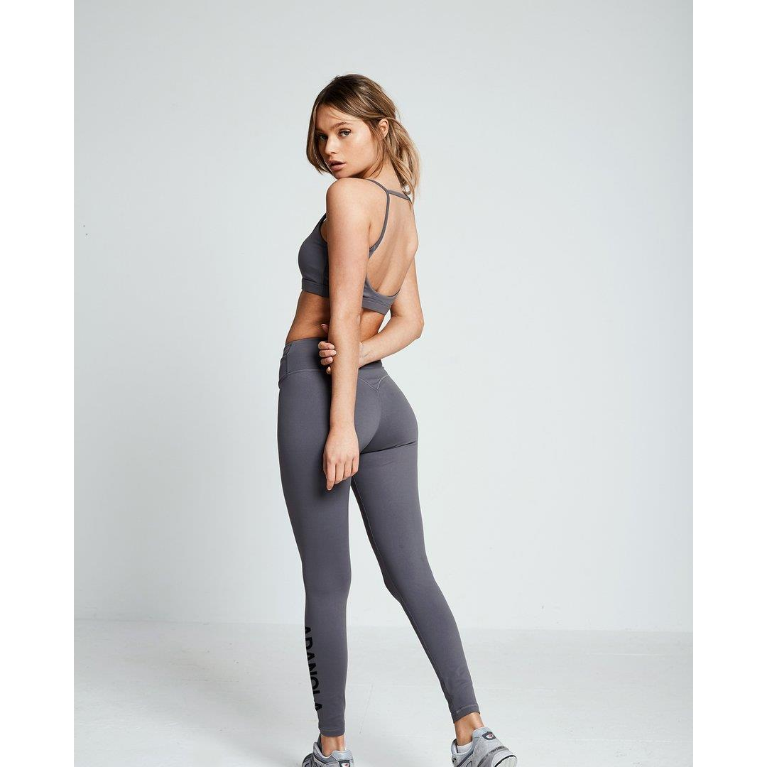 Branded High Waist Leggings — Grey