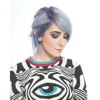 sweater black and white psychedelic shirt eye collar
