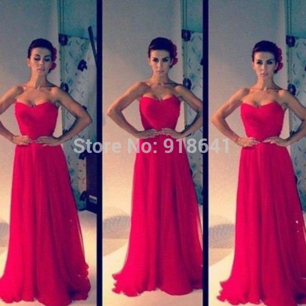 Aliexpress.com : Buy Simple Sweetheart Red Chiffon A line Floor Length Backless Formal Dresses Prom Gowns vestido de festa 2014 from Reliable dress mannequin suppliers on Online Store AndyBridal