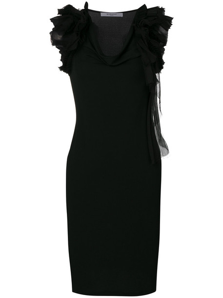 Givenchy dress shift dress ruffle women spandex cotton black silk