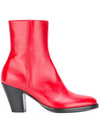 women boots ankle boots leather red shoes