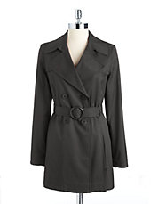 Breasted pleated trench coat