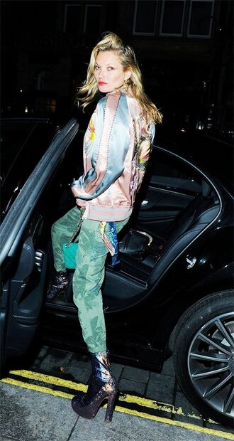 jacket green pants metallic bomber satin bomber bomber jacket pink bomber jacket kate moss celebrity celebrity style model off-duty pants boots sequin shoes