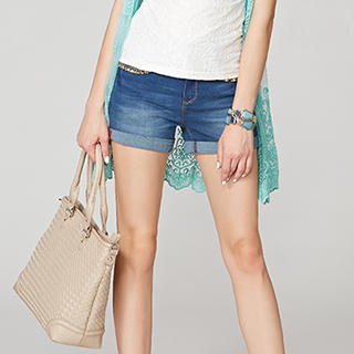 Chain-Accent Cuffed Denim Shorts - O.SA | YESSTYLE