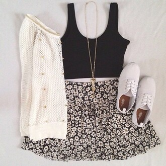 skirt sweater white sweater knitwear black tank tank top black daisy daisy skirt white shoes white converse gold necklace