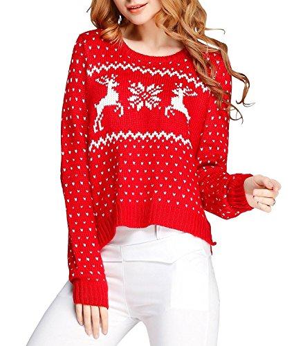 Women girl vintage christmas snowflake reindeers short sexy jumper kni