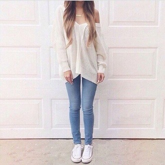 blouse white sweater tumblr outfit tumblr sweater jeans converse blonde hair