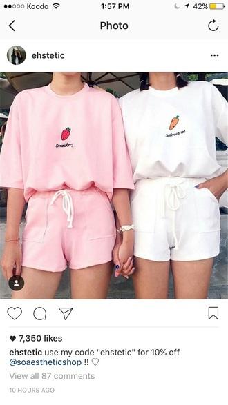 romper white top shirt shorts pink