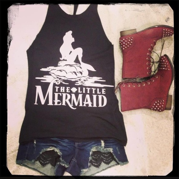 tank top the little mermaid shoes shorts