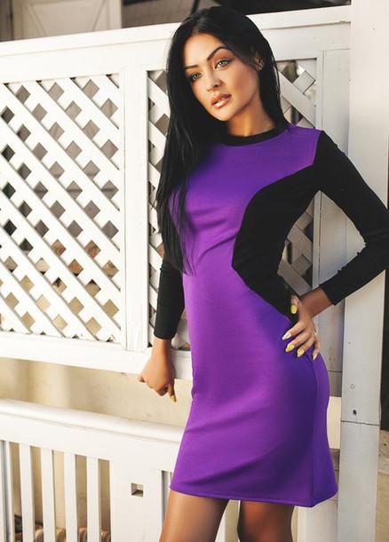 4935fff47 dress zefinka bodycon sexy dress short dress fall dress high neck blue  white purple dress blue