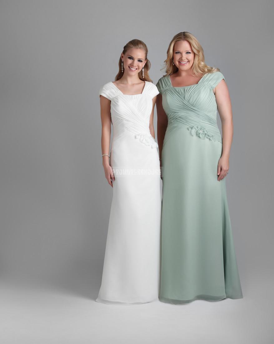 Appliqued Square Neck Cap Sleeve A-line Chiffon Fall Evening Dress - Promdresshouse.com