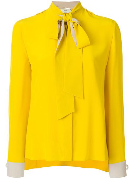 blouse bow women plastic silk yellow orange top