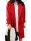 Bright red single button notch lapel loose long tweed coats
