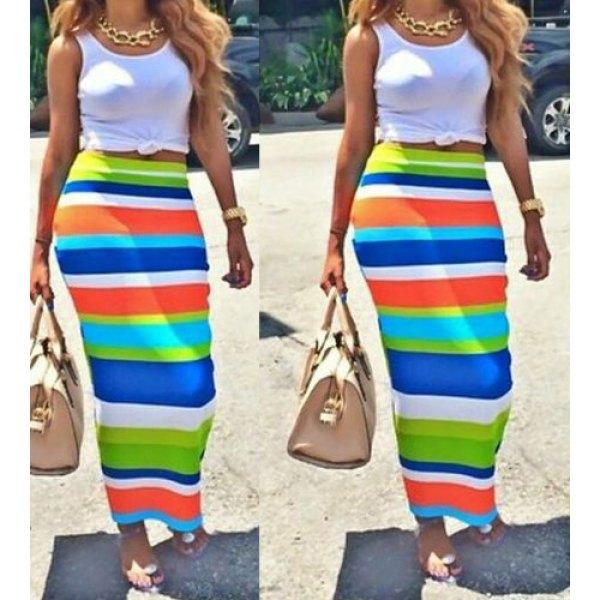Scoop Neck Sleeveless Tank Top High-Waisted Striped Skirt Women's ...
