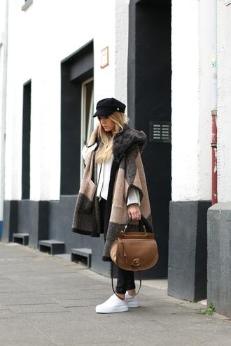 fashion twinstinct blogger fall coat fisherman cap brown leather bag platform sneakers