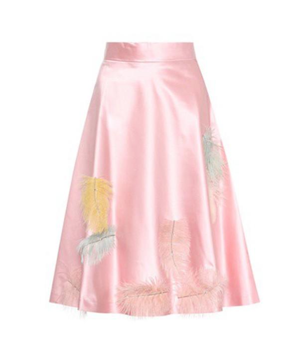 Miu Miu Feather-embellished silk skirt in pink