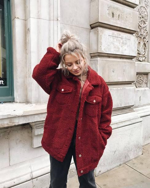 jacket tumblr red jacket oversized oversized jacket fuzzy jacket