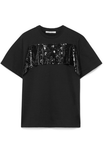 Christopher Kane - Sequined Tulle-trimmed Cotton-jersey T-shirt - Black