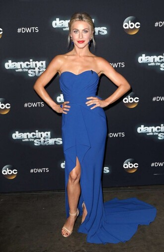 dress gown julianne hough blue blue dress slit dress strapless bustier dress prom dress prom gown
