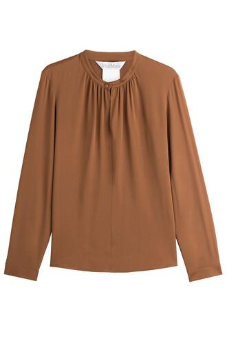 blouse silk brown top