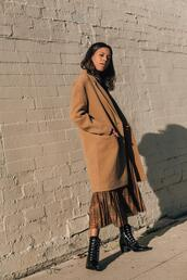 style me grasie,blogger,coat,top,skirt,shoes,ankle boots,brown coat,winter outfits