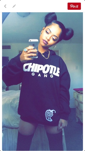 shirt hoodie graphic sweater chipotle gang cute sweaters