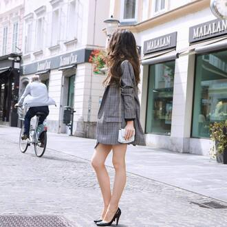 jacket blazer check blazer plaid plaid blazer pumps pointed toe pumps bag white bag