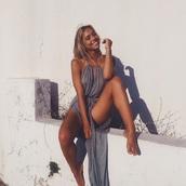 alexis ren,jay alvarrez,halter dress,summer dress,dress,grey dress,grey,maxi dress,slit dress,antic greece dress,model,summer outfits