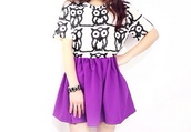 skirt,owl,purple,shirt,black,white,black and white,white and black tshirt,cool,circle skirt,bunched,kawaii,lovely,outfit,both,swell,pretty