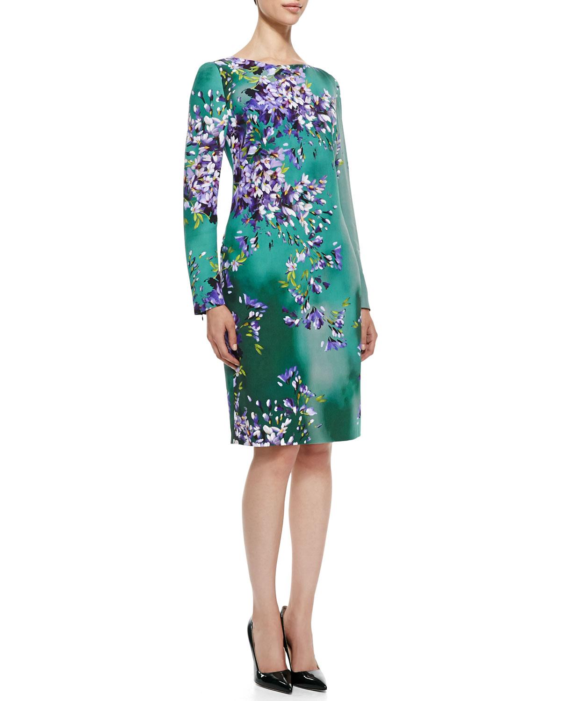 Sleeve floral silk sheath dress