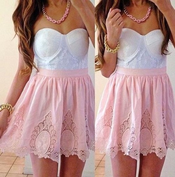 dress pink lace dress white corset white pink skirt coral lace details cut-out skirt