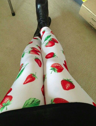 leggings strawberry printed leggings