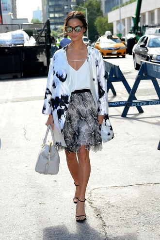 top white top jacket coat printed coat skirt lace skirt floral skirt high heel sandals sandals black sandals bag grey bag sunglasses mirrored sunglasses spring outfits streetstyle