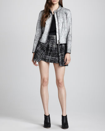 Milly Marbled Leather Motorcycle Jacket, Pleated Stretch Charmeuse Tank & Full Pleated Tweed Skirt - Neiman Marcus