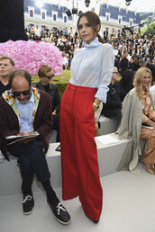pants,wide-leg pants,red pants,victoria beckham,blouse,top,shirt,celebrity