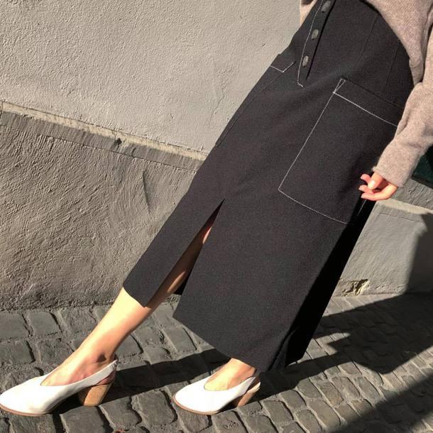 skirt black skirt shoes white shoes