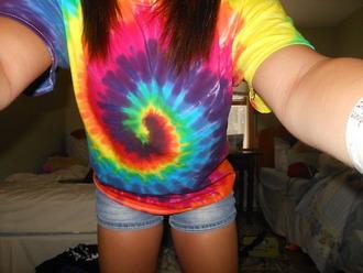 shirt t-shirt tie dye tie dye shirt hipster hippie top
