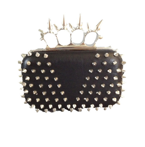 yamakny.com — Studded-Spiked Rock Couture Ring Clutch - Gunmetal